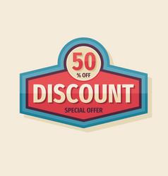Discount 50 percent off concept logo badge vector