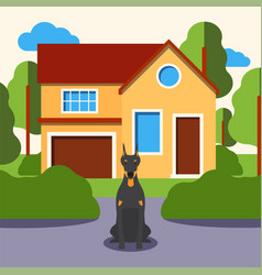 dog in front house doberman cartoon character vector image