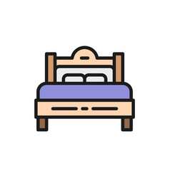 double bed flat color icon isolated on white vector image