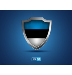 Estonia shield on the blue background vector image
