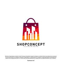 fashion city logo concept shopping center with vector image