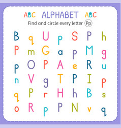 Find and circle every letter p worksheet vector