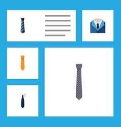 flat icon necktie set of necktie clothing collar vector image