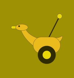 Flat icon on background kids toy duck vector