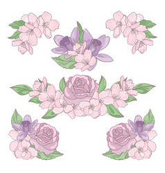 Flower mix floral decoration clip art illus vector