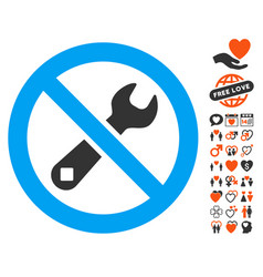 Forbidden repair icon with dating bonus vector