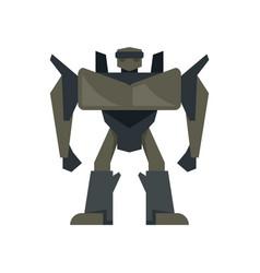 futuristic robot transformer icon flat isolated vector image