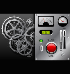 gear wheels in black and white and metallic vector image
