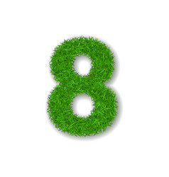 Grass number eight green 3d number 8 isolated on vector