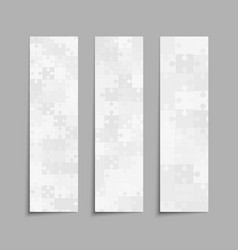 grey jigsaw puzzle cards flyers brochures vector image