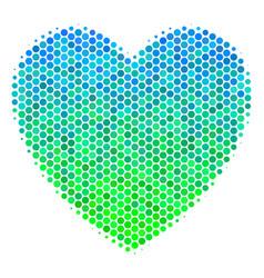 halftone blue-green love heart icon vector image