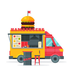 Hamburgers food truck street meal vehicle fast vector