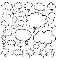 Hand Drawn Speech Bubbles and Thought Clouds vector