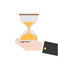 hand hold hour glass flat design vector image