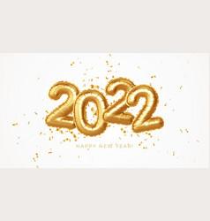 Happy new year 2022 metallic gold foil balloons vector