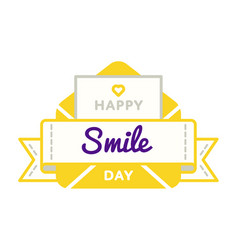 Happy smile birthday greeting emblem vector