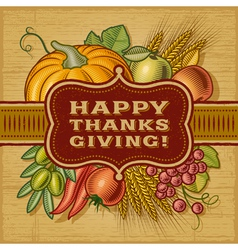 Happy thanksgiving retro card vector