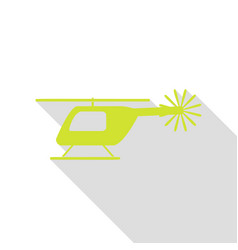 helicopter sign pear icon with flat vector image
