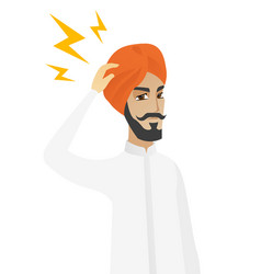 Hindu businessman with lightning over head vector