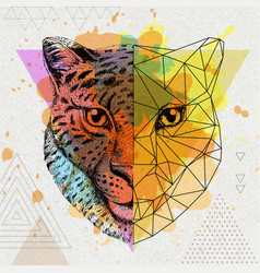Hipster animal realistic and polygonal cheetah on vector