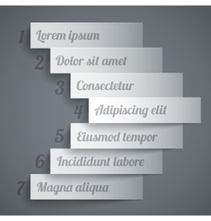 Infographics 7 options paper stripe banners arrow vector image