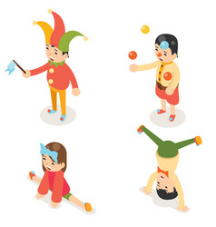 Isometric clown joke fun boys girls characters vector