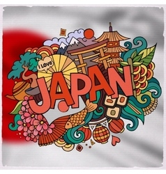 Japan country hand lettering and doodles elements vector