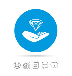 Jewelry insurance sign hand holds diamond vector