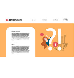 Landing page design template with frequently vector