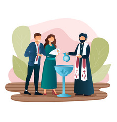Male priest is baptising a newborn child vector