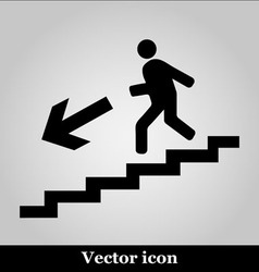 Man on Stairs going down symbol on grey background vector