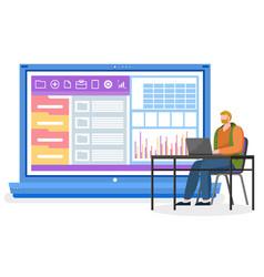 Man work on laptop graphics on computer desktop vector