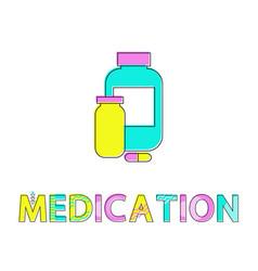 Medication bottles poster vector