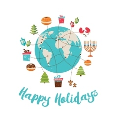 merry christmas and happy hanukkah global vector image