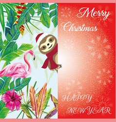 merry christmas sloth peeps out tropical vector image