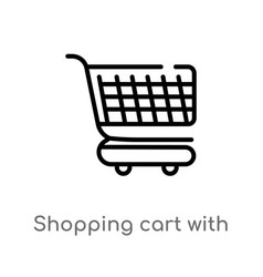 Outline shopping cart with grills icon isolated vector