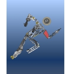 Painted running man of spare parts vector image