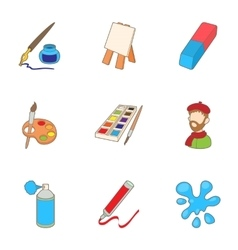 Painting icons set cartoon style vector