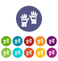 Pair of paintball gloves set icons vector