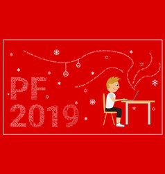 Pf 2019 card red background vector