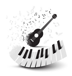 piano keys and guitar with notes vector image