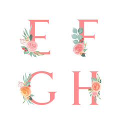 Pink alphabet florals setcollection peach and vector