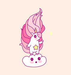 pink unicorn room art vector image