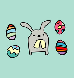 rabbit funnyhappy easter eggs isolated vector image