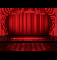 Red stage curtain with seats and copy space vector
