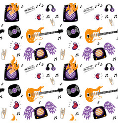Rock music attributes seamless pattern vector