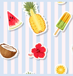 seamless pattern with fruits on striped background vector image