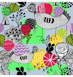 Seamless spring pattern with doodle farm birds vector