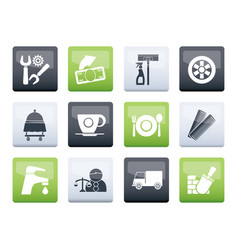 Services and business icons over color background vector