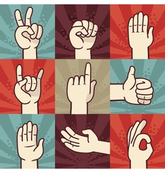 Set hands and gestures - in retro comic style vector